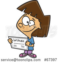Cartoon Proud Brunette White Girl Holding a Certificate by Toonaday