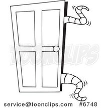 Cartoon Black And White Line Drawing Of Tentacles Opening A Closet Door By Toonaday