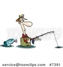 Cartoon Fish Sticking His Tongue out at a Wading Fisher Man by Toonaday