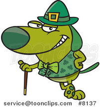 Cartoon St Patricks Day Dog Leaning on a Cane by Toonaday