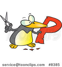 Cartoon Penguin Cutting out the Letter P by Toonaday