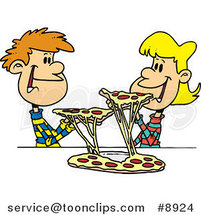 Cartoon Couple of Kids Sharing Pizza by Toonaday