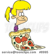 Cartoon Girl with a Giant Pizza Slice by Toonaday