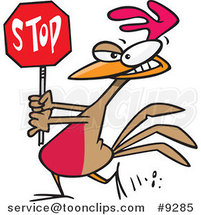 Cartoon Rooster Carrying a Stop Sign by Toonaday