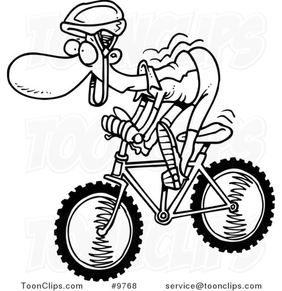 cartoon black and white line drawing of a mountain biker