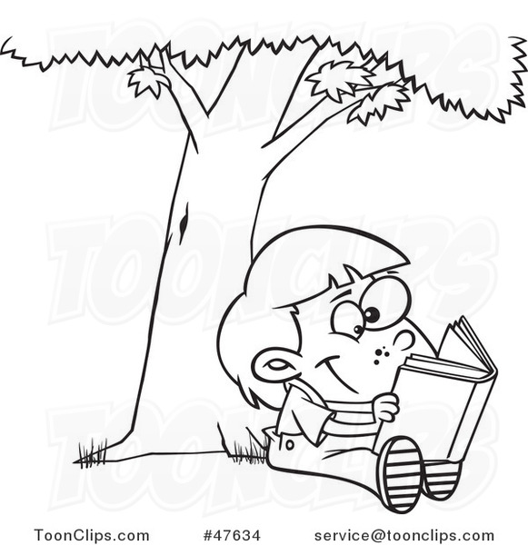 Black And White Cartoon Child Reading A Book Under A Tree 47634 By