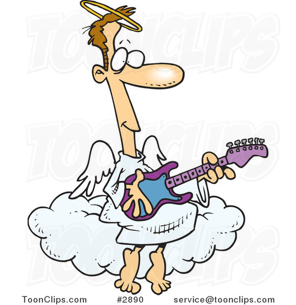 Cartoon Angel Guy Playing A Guitar 2890 By Ron Leishman