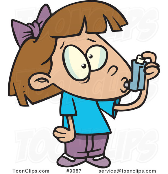 Cartoon Asthmatic Girl Using Her Inhaler Puffer
