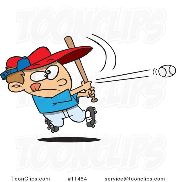 Cartoon Baseball Boy Hitting a Home Run #11454 by Ron Leishman