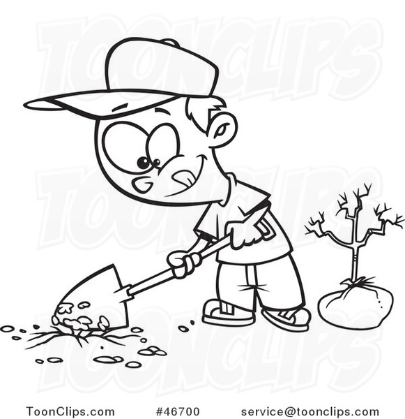 Cartoon Black And White Boy Digging A Hole To Plant A Tree On Arbor