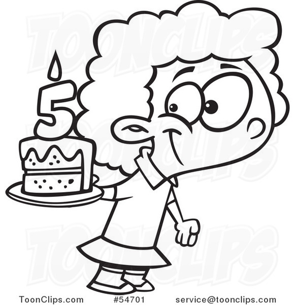 Cartoon Black And White Happy Girl Holding Her Fifth Birthday Cake
