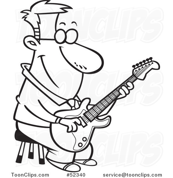 Cartoon Black And White Happy Guy Playing A Guitar On Stool 52340 By Ron Leishman
