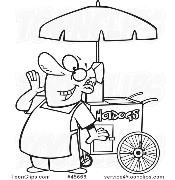 Cartoon Black And White Happy Shouting Hot Dog Vendor Guy 45666 By Ron Leishman