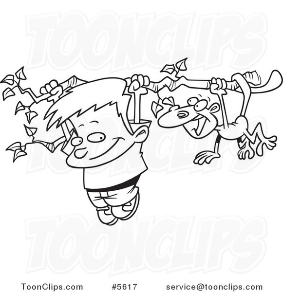 Cartoon Black And White Line Drawing Of A Boy Monkey Hanging From Tree Branch 5617 By Ron Leishman