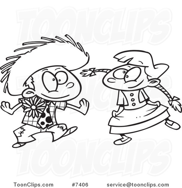 Cartoon Black And White Line Drawing Of A Boy And Girl Dancing At A Fiesta 7406 By Ron Leishman