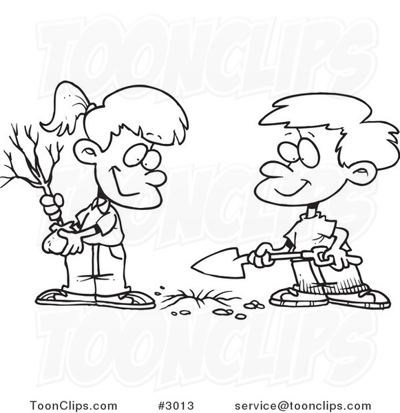 Cartoon Black And White Line Drawing Of A Boy And Girl