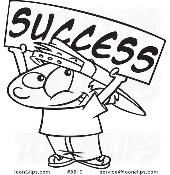 cartoon black and white line drawing of a boy holding a success banner 8519 by ron leishman boy holding a success banner 8519