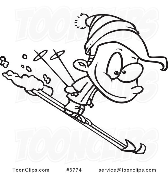 Cartoon Black and White Line Drawing of a Boy Skiing #6774