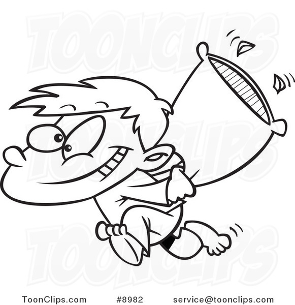 Cartoon Black And White Line Drawing Of A Boy Starting Pillow Fight 8982 By Ron Leishman