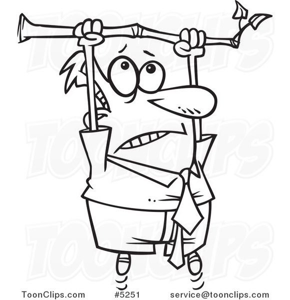 Cartoon Black And White Line Drawing Of A Business Man Hanging From