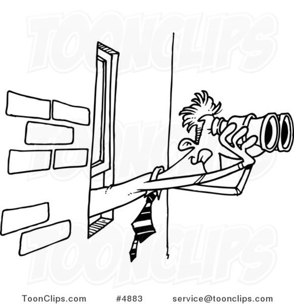 Cartoon black and white line drawing of a business man looking out a cartoon black and white line drawing of a business man looking out a window with binoculars 4883 by ron leishman thecheapjerseys Gallery