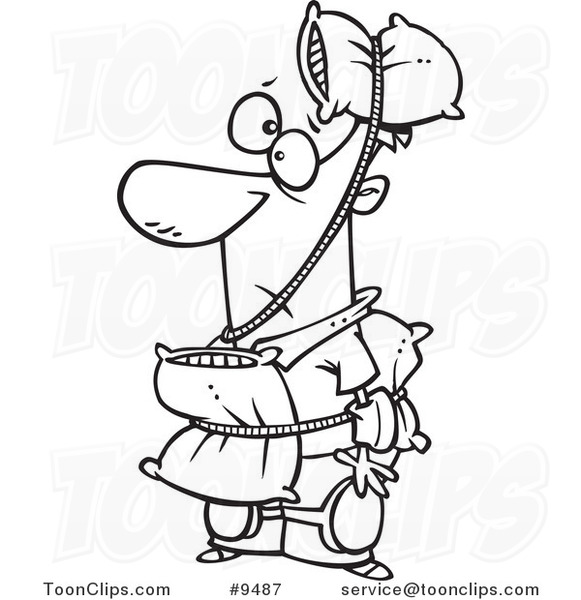 Cartoon Black And White Line Drawing Of A Cautious Guy Wearing Pillows 9487 By Ron Leishman