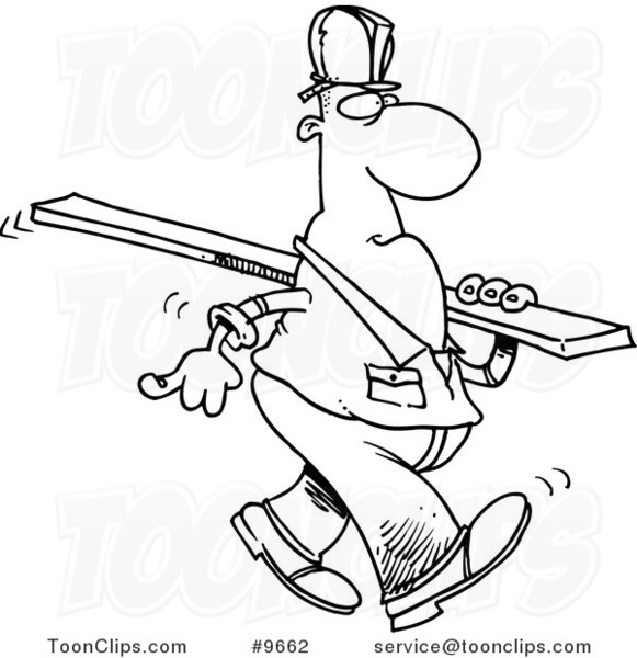 Cartoon Black And White Line Drawing Of A Construction Worker Carrying Wood Slat 9662 By Ron Leishman