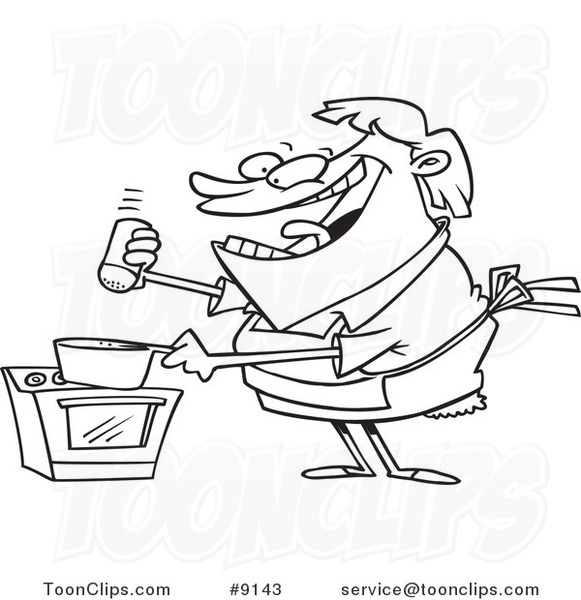 Cartoon Black And White Line Drawing Of A Cooking Lady Seasoning With Salt 9143 By Ron Leishman