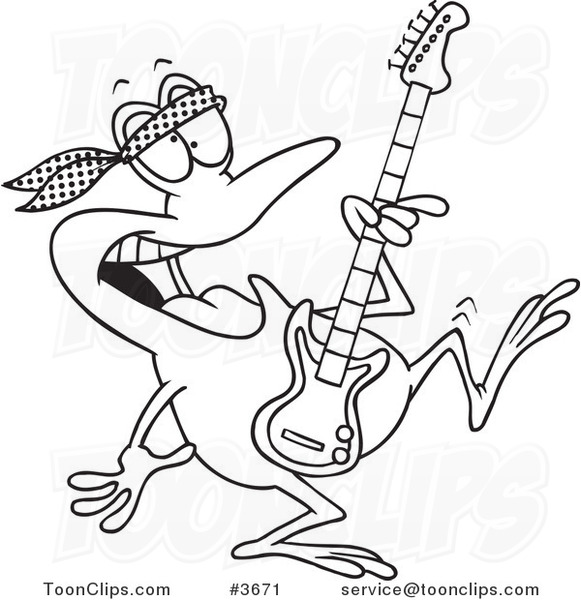 Cartoon Black And White Line Drawing Of A Dancing Guitarist Frog 3671 By Ron Leishman