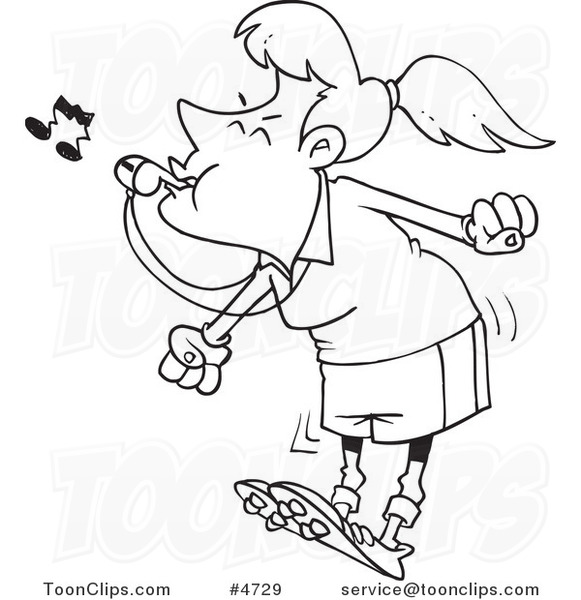 Cartoon Black and White Line Drawing of a Female Referee ...