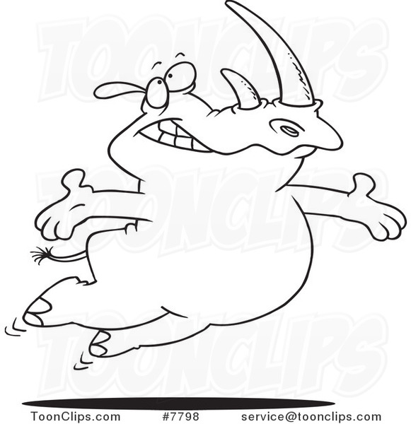 Cartoon Black and White Line Drawing of a Free Rhino Jumping