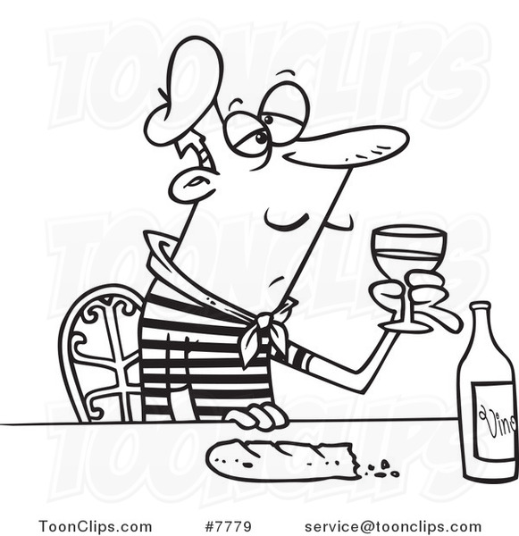 Cartoon Black And White Line Drawing Of A French Guy With Wine And