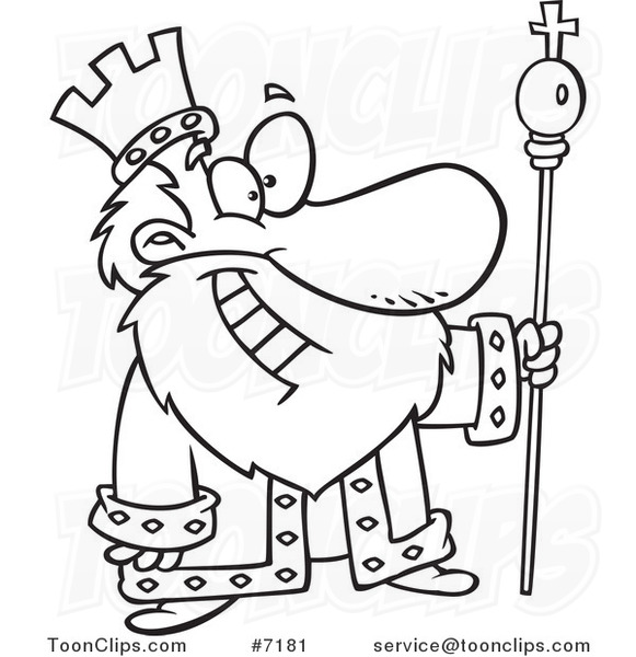 Cartoon Black And White Line Drawing Of A Friendly King 7181 By Drawing King