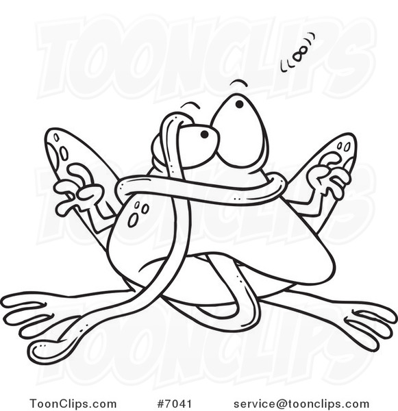 Cartoon Black And White Line Drawing Of A Frog Tangled In His Tongue 7041 By Ron Leishman