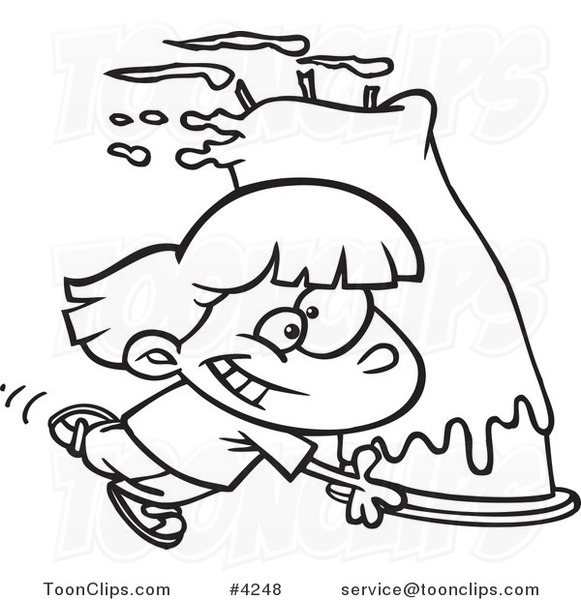 Awe Inspiring Cartoon Black And White Line Drawing Of A Girl Carrying A Big Personalised Birthday Cards Vishlily Jamesorg