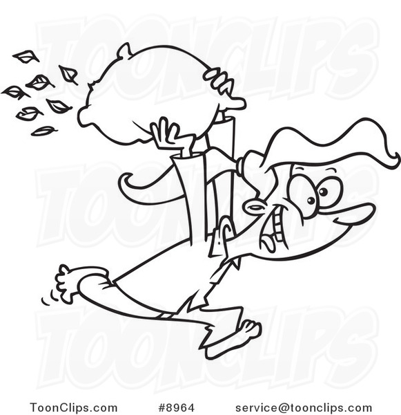 Cartoon Black And White Line Drawing Of A Girl Starting Pillow Fight 8964 By Ron Leishman