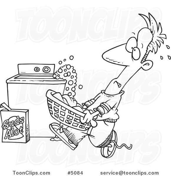 Washing Machine Drawing ~ Cartoon black and white line drawing of a guy carrying