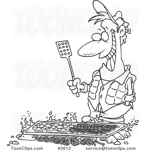 Cartoon Black And White Line Drawing Of A Guy Cooking On A Griddle Over A Camp Fire 3612 By Ron Leishman