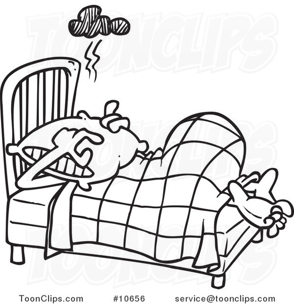 Cartoon Black And White Line Drawing Of A Guy Covering His Head With Pillow 10656 By Ron Leishman