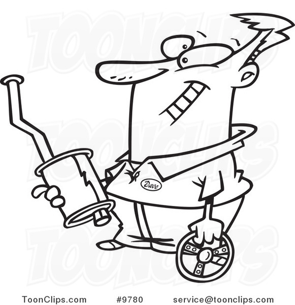 Cartoon Black and White Line Drawing of a Guy Holding Car Parts ...
