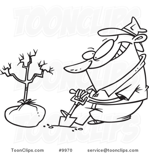 Cartoon Black And White Line Drawing Of A Guy Planting A Tree 9970 By Ron Leishman Once you have a basic tree, you can start varying your tree types and shapes to create whole i like to curve to the right. guy planting a tree 9970 by ron leishman