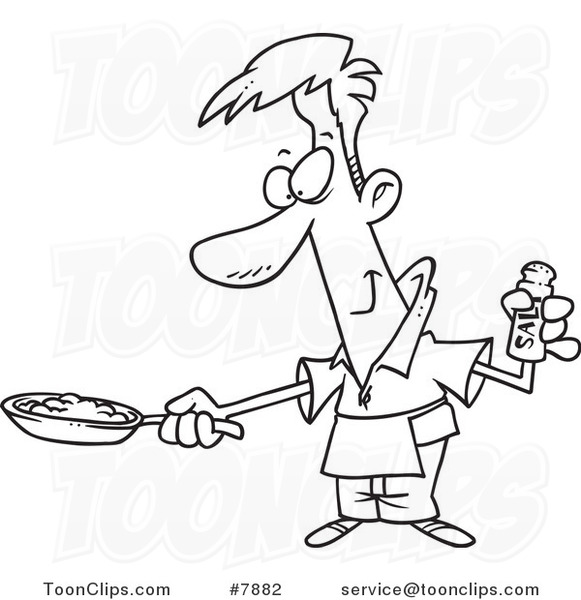 Cartoon Black And White Line Drawing Of A Guy Wearing An Apron And Cooking Eggs 7882 By Ron Leishman