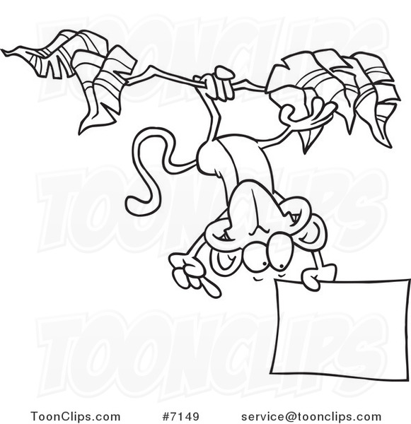 Cartoon Black And White Line Drawing Of A Hanging Monkey Holding Sign 7149 By Ron Leishman