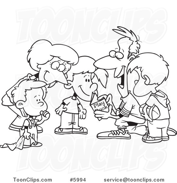 Cartoon Black And White Line Drawing Of A Huddled Family Reading Football Play Book 5994 By Ron Leishman