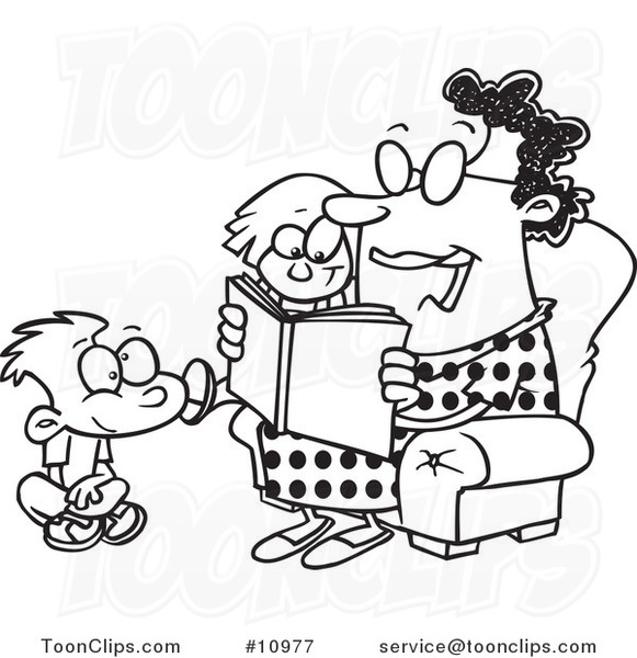 Cartoon Black And White Line Drawing Of A Lady Reading A Book To A Boy And Girl At Story Time 10977 By Ron Leishman