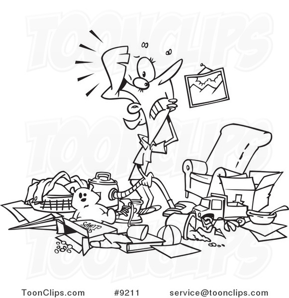 Messy Living Room: Cartoon Black And White Line Drawing Of A Lady With A