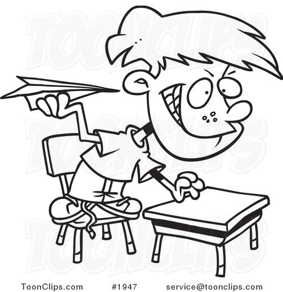 Cartoon Black And White Line Drawing Of A Mischievous School Boy