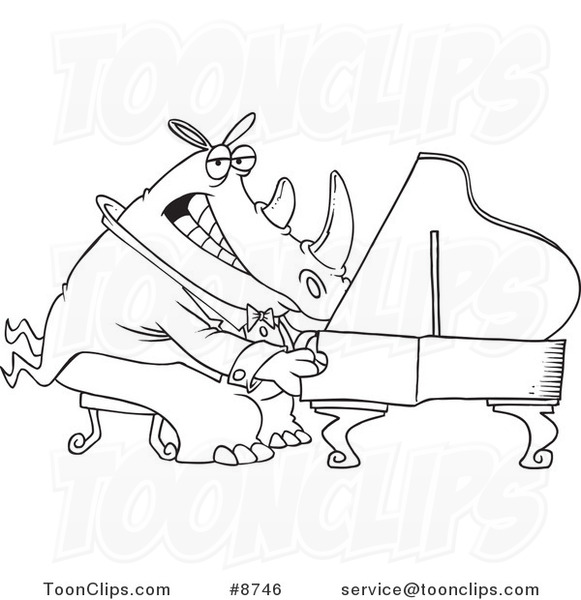 Cartoon Black and White Line Drawing of a Rhino Pianist