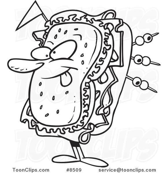 cartoon black and white line drawing of a sandwich character 8509 by ron leishman sandwich character 8509 by ron leishman