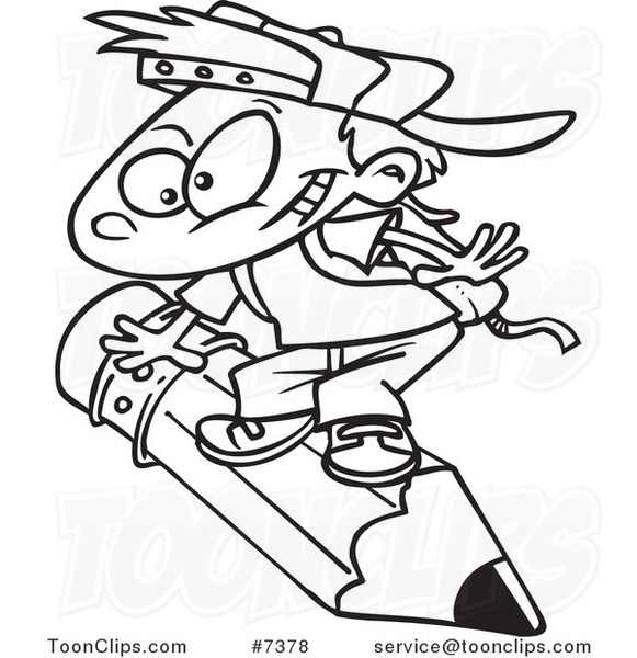Cartoon Black And White Line Drawing Of A School Boy Riding A Pencil 7378 By Ron Leishman